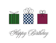 Three Presents Birthday Greeting Cards